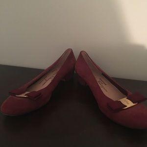 Salvatore Ferragamo Shoes - Rose velvet Ferragamo Heels us 7.5